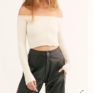 Free People Long Sleeve Cropped Top
